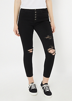 Black Button Down Distressed High Rise Jeggings