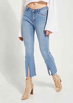 Split Flare High Waisted Jeans
