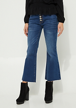 Dark Wash Button Front Cropped Flare Jeans