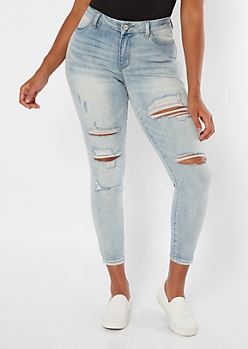 Ultimate Stretch Medium Wash Distressed Curvy Ankle Jeggings