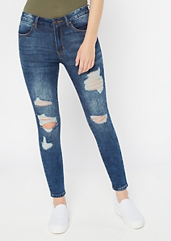 Ultimate Stretch Dark Wash Distressed Curvy Ankle Jeggings