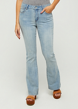 Light Wash Raw Hem Flared Jeans