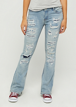 Light Torn & Repaired Flare Jeans in Regular