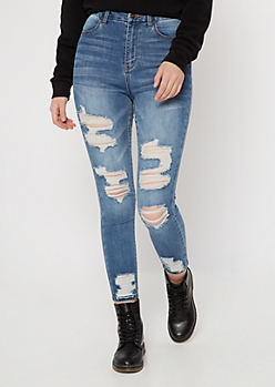 Ultimate Stretch Medium Wash Distressed Curvy Ankle Jeans