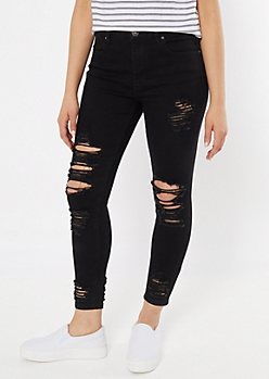 Ultimate Stretch Black Destructed Ankle Curvy Jeggings