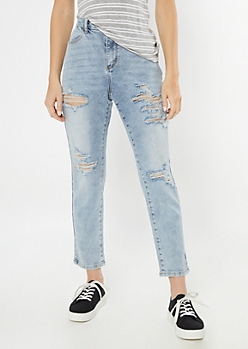 Ultimate Stretch Light Wash Ripped Mom Jeans