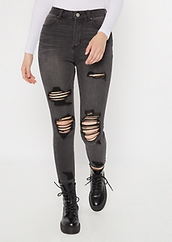 Ultimate Stretch Gray Distressed Curvy Ankle Jeggings