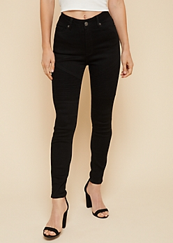 Black Extra High Waisted Moto Skinny Ankle Jeans