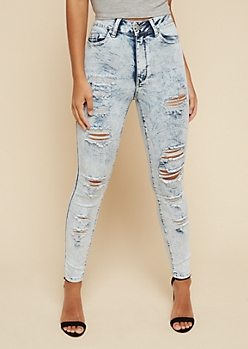 Light Acid Wash Distressed High Waisted Ankle Jeans