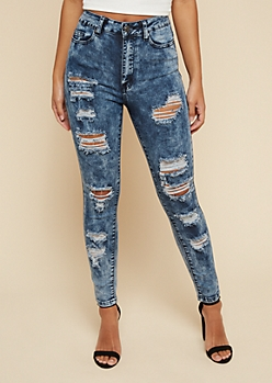 YMI Wanna Betta Butt Medium Wash Double Button Ripped Skinny Jeans