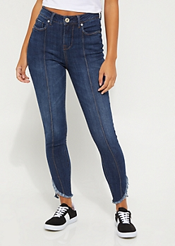 Dark Wash Extra High Waisted Frayed Ankle Jeans