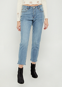 Vintage Wash High Waisted Straight Leg Ankle Jeans