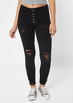 Black High Waisted Button Front Ripped Jeggings
