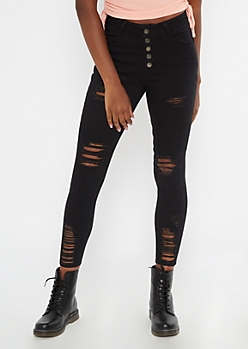 Ultimate Stretch Black Button Fly Ankle Jeggings