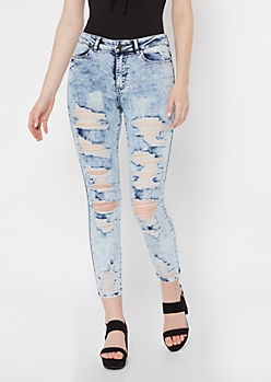 Acid Wash Distressed Ankle Jeggings