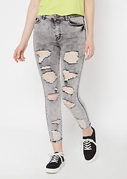 Gray Acid Wash Distressed Ankle Jeggings