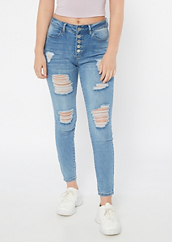 Medium Wash Distressed Exposed Button Skinny Ankle Jeans