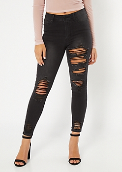 Black Distressed Mid Rise Jeggings