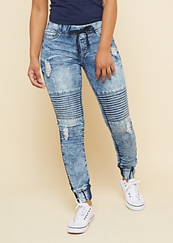 Medium Acid Wash Moto Gem Drawstring Denim Joggers