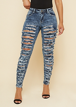 Dark Acid Wash High Waisted Heavy Ripped Jeggings
