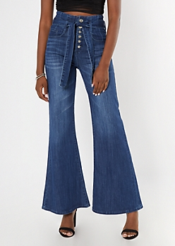 Medium Wash Paperbag Waist Exposed Button Flare Jeans