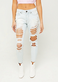 Light Wash Mid Rise Destroyed Jeggings in Regular