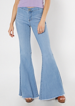 Medium Wash Raw Cut Flare Jeans