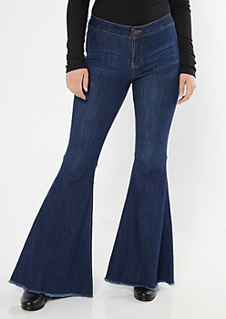 Dark Wash Raw Cut Flare Jeans