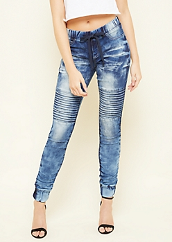 Dark Wash Ruched Ankle Pull On Jeggings