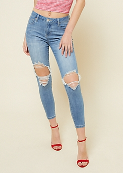 Light Wash High Waisted Ripped Knee Ankle Jeggings