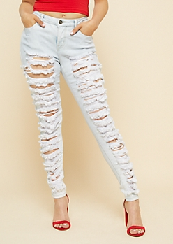 Light Wash High Waisted Heavy Ripped Jeggings