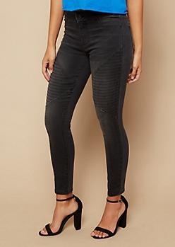 Black Mid Rise Moto Skinny Jeans