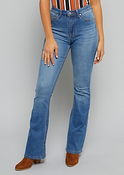 Medium Wash High Waisted Flare Jeans