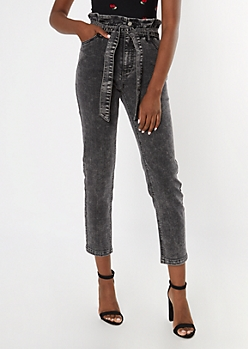 Black High Rise Paperbag Waist Jeans