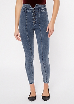 Dark Acid Wash Seamed Notch Waist Jeggings