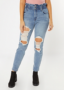 Medium Wash High Waisted Paperbag Destroyed Straight Jeans