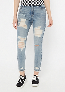 Light Acid Wash Distressed Mom Jeans