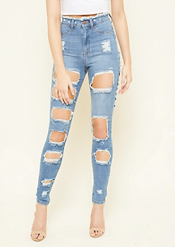 Medium Wash High Waisted Frayed Waist Ripped Skinny Jeans