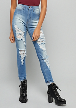 Medium Wash Sandblasted High Waisted Distressed Skinny Jeans