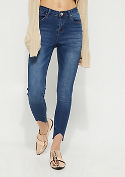 Dark Wash High Waisted Cutout Ankle Jeans