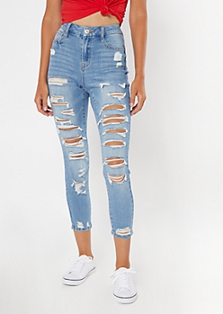Light Wash High Waisted Ripped Curvy Jeggings