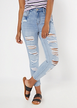 Light Wash Super High Waisted Ripped Ankle Jeggings