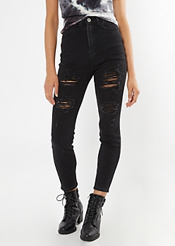 Ultimate Stretch Black Ultra High Waisted Ripped Curvy Ankle Jeggings