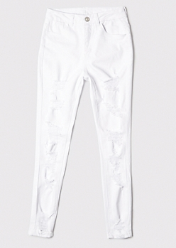 Ultimate Stretch White Extra Ripped Curvy Ankle Jeans