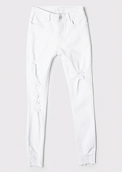 White High Waisted Ripped Ankle Jeggings