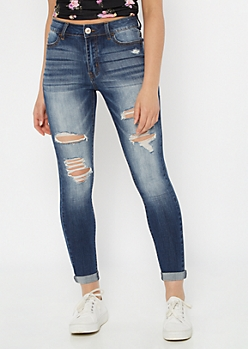 Ultimate Stretch Dark Wash High Rise Distressed Ankle Jeggings