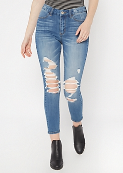 Medium Wash Distressed Curvy Ankle Jeggings