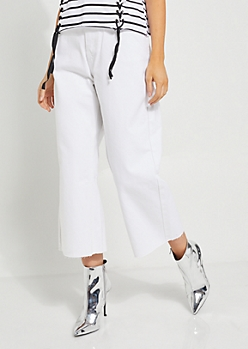 White High Waisted Wide Leg Cropped Jeans