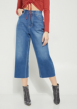 Light Wash High Waisted Wide Leg Cropped Jeans