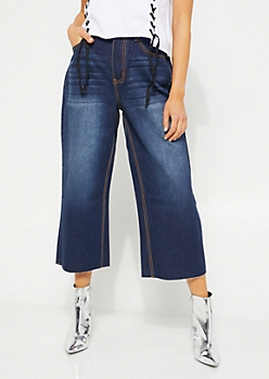 Dark Wash High Waisted Wide Leg Cropped Jeans
